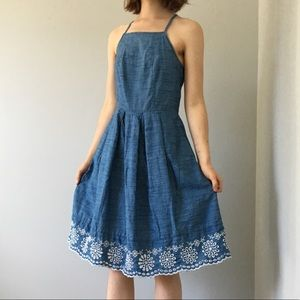 Denim skater dress with pockets and scalloped hem!
